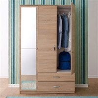 Adore 3 Door Closet 2 Drawer Mirror Wardrobe MRBL