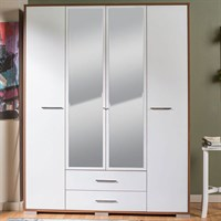 Adore Madrid 4 Doors 2 Cupboard Mirror Wardrobe Walnut Lake White