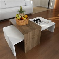 Oberon Center Table White-Walnut MFC