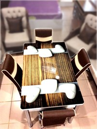 Extendable Glass Countertop Metal Leg Dining Table + 4Chairs