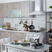 Rustic Oak White Built-in Modular Ready Kitchen Cabinet